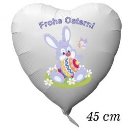 Osterhase mit Osterei und Schmetterling, Frohe Ostern, Luftballon aus Folie in Herzform mit Helium