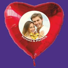 Großer Fotoballon mit Brautpaar, personalisiert, mit Namen der Brautleute