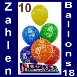 Luftballons zum 18. Geburtstag, Zahlenballons aus Latex, Zahl 18, 10 Stück