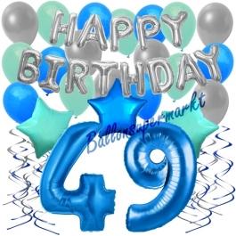 49. Geburtstag Dekorations-Set mit Ballons Happy Birthday Blue, 34 Teile