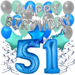 51. Geburtstag Dekorations-Set mit Ballons Happy Birthday Blue, 34 Teile