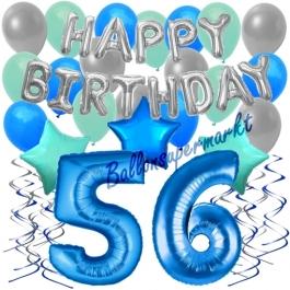 56. Geburtstag Dekorations-Set mit Ballons Happy Birthday Blue, 34 Teile