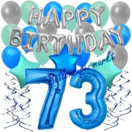 73. Geburtstag Dekorations-Set mit Ballons Happy Birthday Blue, 34 Teile