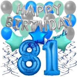 81. Geburtstag Dekorations-Set mit Ballons Happy Birthday Blue, 34 Teile