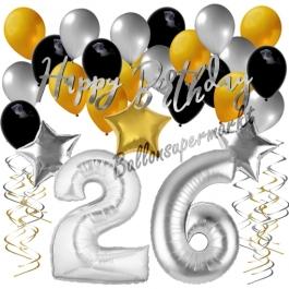 26. Geburtstag Dekorations-Set mit Ballons Happy Birthday Glamour, 34 Teile