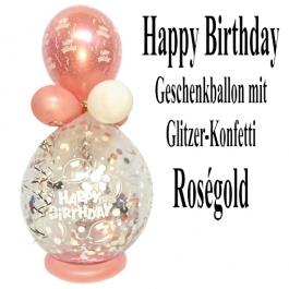 """Geschenkballon """"Happy Birthday"""" zum Geburtstag in Roségold"""