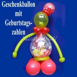 Geschenkballon zum Geburtstag mit Geburtstagszahlen, Ballonfigur, Ballondekoration