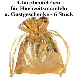 Glanzbeutel für Hochzeitsmandeln und Gastgeschenke, Gold, 6 Stück