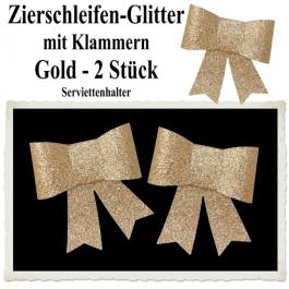 Glitter-Zierschleifen, Schleifendekoration Gold, 2 Schleifen mit Klammern, 6,5 cm x 6,5 cm