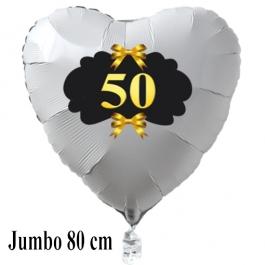 Großer Herzballon aus Folie, 50, weiß, mit Ballongas Helium, Dekoration Goldene Hochzeit