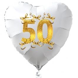 Weißer Herzballon aus Folie, 50 mit Schleifen in Gold, inklusive Ballongas Helium, Dekoration Goldene Hochzeit