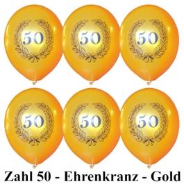 Goldene Luftballons Zahl 50 im Lorbeerkranz