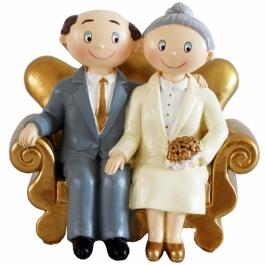 Figur Goldhochzeitspaar auf Sofa, zur goldenen Hochzeit