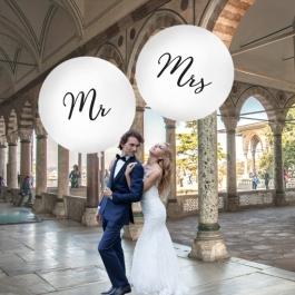 Große Rund-Luftballons, Weiß, 1 Meter, zur Hochzeit von Mr. und Mrs.