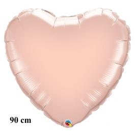Großer Herzluftballon aus Folie, Roségold, 90 cm