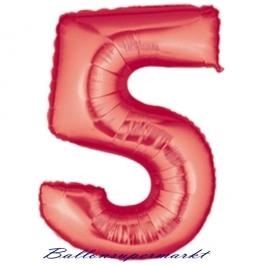 Grosser-Luftballon-aus-Folie-Rot-100-cm-Zahl-5-Fünf, Zahlendekoration