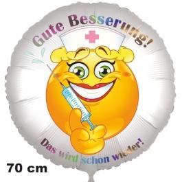 Gute Besserung! Das wird schon wieder! Ballon aus Folie, 70 cm, mit Ballongas
