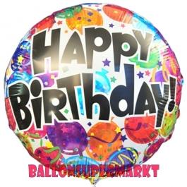 Geburtstags-Luftballon, Happy Birthday Balloons, Holografischer Ballon mit Helium