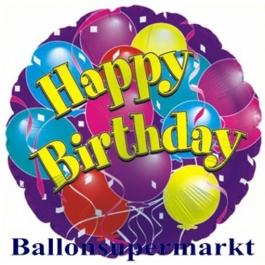 Happy Birthday mit Luftballons Folien-Luftballon, ungefüllt