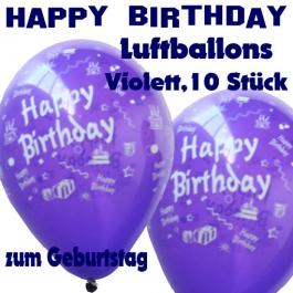 Happy Birthday Motiv Luftballons, Latexballons zum Geburtstag, 10 Stück, Violett