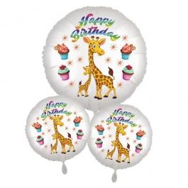 Happy Birthday Großes Kindergeburtstag Luftballon-Bouquet mit Giraffen