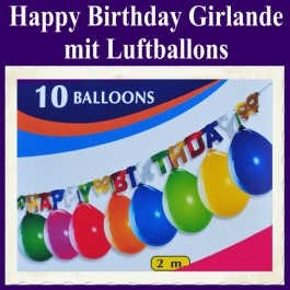 Happy Birthday Girlande mit Luftballons