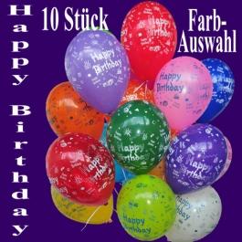 Happy Birthday Luftballons, Dekoration zum Geburtstag, bunte Farbauswahl
