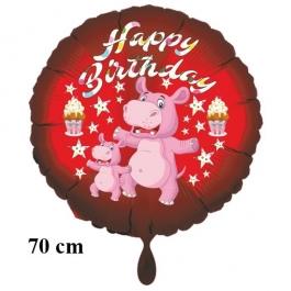 Happy Birthday Nilpferd Kindergeburtstag großer Luftballon mit Helium
