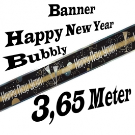 Silvester Dekoration Letterbanner Happy New Year Bubbly