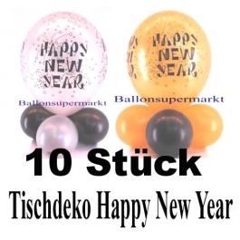 Happy New Year Luftballons Tischdeko Silvester, 10 Stück