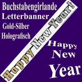 Silvester Dekoration Buchstabengirlande Happy New Year, Letterbanner