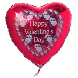 Happy Valentine's Day Luftballon aus Folie, Rosenherz