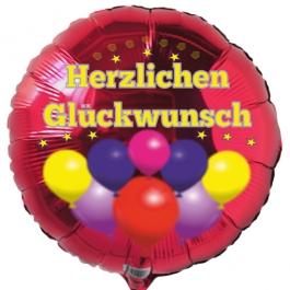 Herzlichen Glückwunsch, Luftballon aus Folie, rot, 45 cm, Rundballon