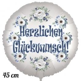 Herzlichen Glückwunsch, Luftballon aus Folie, satinweiß, 45 cm, Rundballon