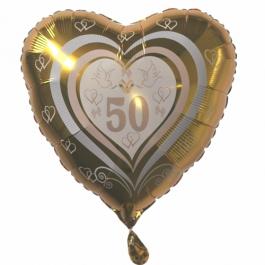 Goldene Hochzeit Herzluftballon aus Folie in Gold, Zahl 50, Tauben, Ringe, Herzen, Ballon mit Ballongas-Helium, Dekoration Goldene Hochzeit