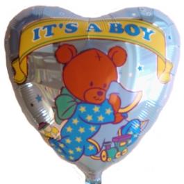 Herzluftballon Baby Boy Bärchen, it's a Boy, zu Geburt, Taufe, Babyparty mit Helium