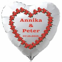 Luftballon zur Hochzeit, Herzballon aus Folie inklusive Helium mit den Namen von Braut und Bräutigam und Datum des Hochzeitstages, weiß mit Herz aus roten Rosen