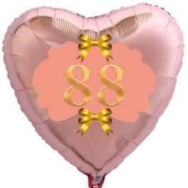 Herzluftballon aus Folie, Rosegold, zum 88. Geburtstag, Rosa-Gold