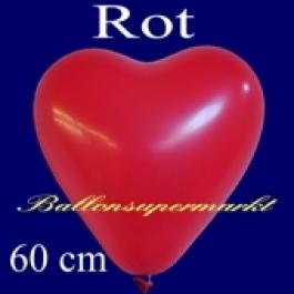 Herzluftballon, 60 cm, rot