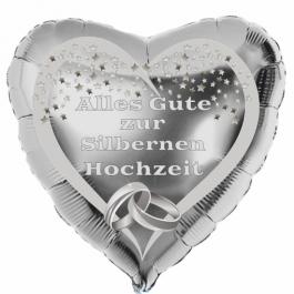 Alles Gute zur Silbernen Hochzeit, Herzluftballon aus Folie in Silber