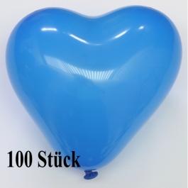 Herzluftballons 12-14 cm, Blau, 100 Stück