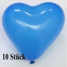 Herzluftballons, 8-12 cm, blau, 10 Stück