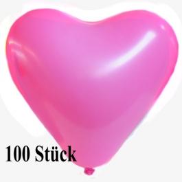 Herzluftballons 12-14 cm, Rosa, 100 Stück