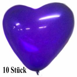 Herzluftballons, 8-12 cm, violett, 10 Stück