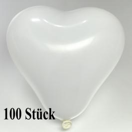 Herzluftballons 12-14 cm, Weiß, 100 Stück
