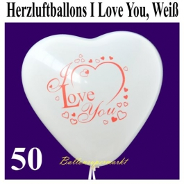 Herzluftballons I Love You, Weiß, 30 cm, 50 Stück