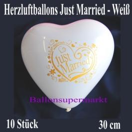 Herzluftballons Just Married, weiß, 30 cm, 10 Stück