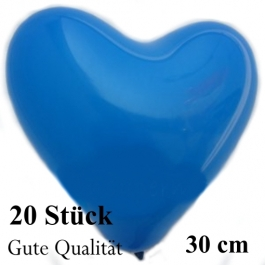 Herzluftballons Blau, Gute Qualität, 20 Stück, 30 cm