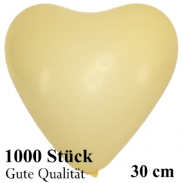 Herzluftballons Elfenbein, Gute Qualität, 1000 Stück, 30 cm