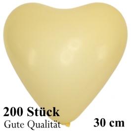 Herzluftballons Elfenbein, Gute Qualität, 200 Stück, 30 cm